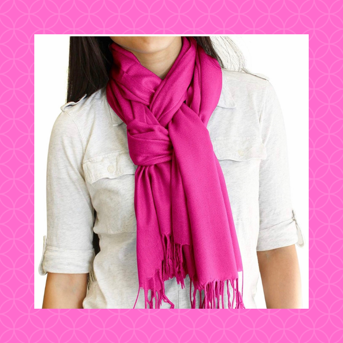 A pink scarf looks great with everything on Valentine's Day.