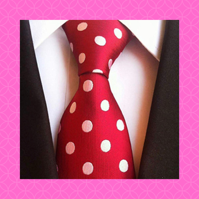 A red tie with white polka dots makes a Valentine's Day statement!